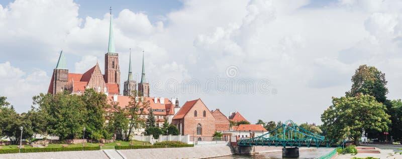 Ostrow Tumski in Wroclaw, Poland. Bridge to Ostrow Tumski in Wroclaw, Poland stock images
