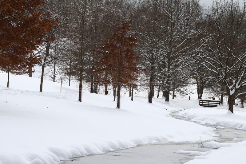 A Bridge to Winter Landscape. Snow cover creek, and foot bridge in Asheville, North Carolina stock images