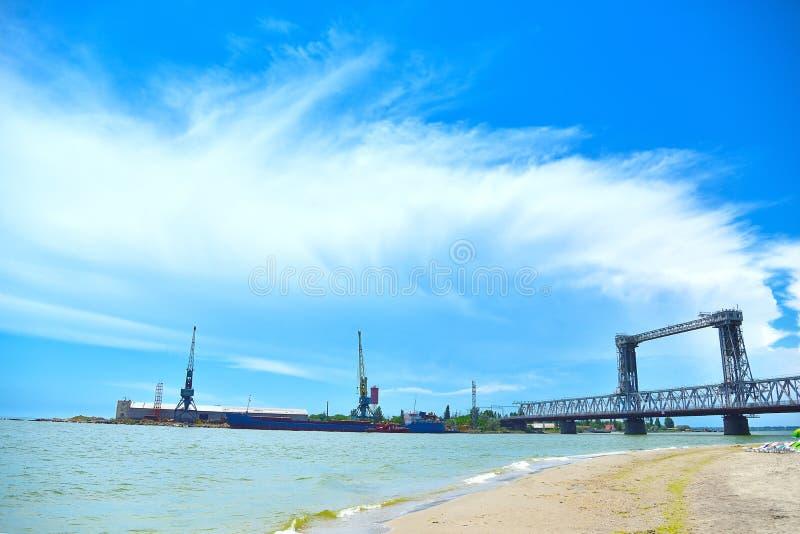 Bridge and tower cranes royalty free stock image