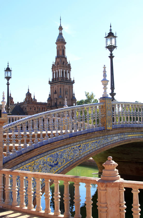 Download Bridge And Tower At Plaza De Espana, Seville Spain Stock Photo - Image: 22430560