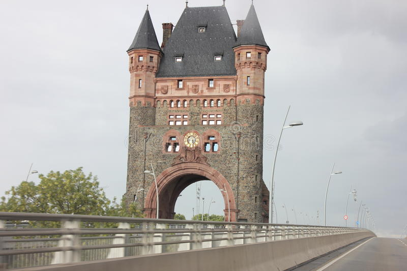Bridge tower in Worms, Germany. The Nibelungen bridge tower in Worms, Germany, remnant of a medieval city royalty free stock images