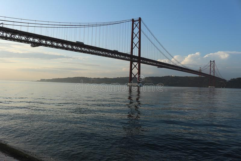 Suspension bridge in the city of lisbon in Portugal royalty free stock image