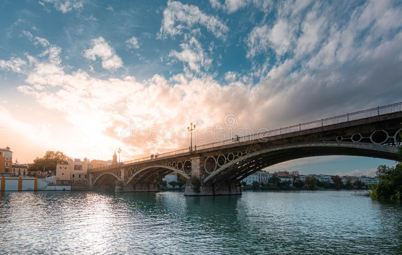 Bridge of Triana and Guadalquivir river in Seville. Spain royalty free stock photo
