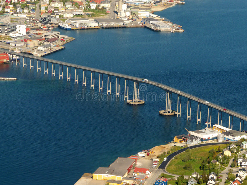 The Bridge of Tromsoe. The bridge connecting two parts of the town of Tromsoe royalty free stock photos