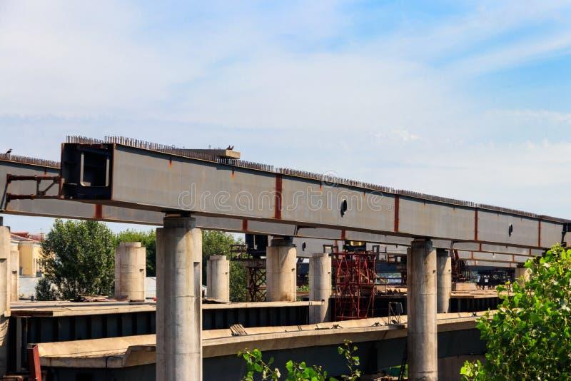 Bridge under construction. Framework with armature royalty free stock photos