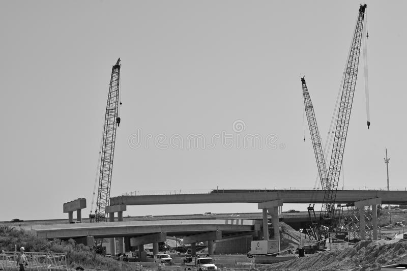 A bridge under construction is shown royalty free stock images