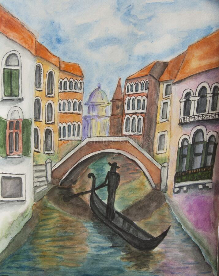 Bridge in Venice watercolor painting stock photo