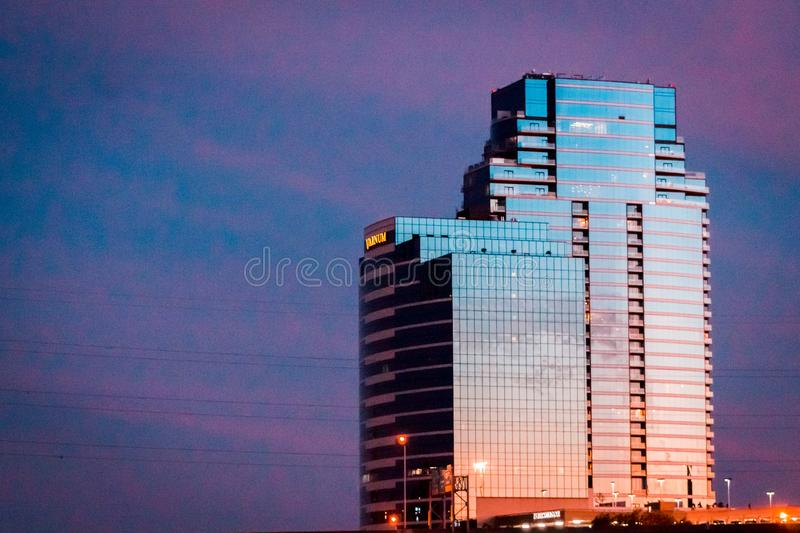 Bridge Water place standing tall on the Grand Rapids Michigan Skyline during blue hour royalty free stock images