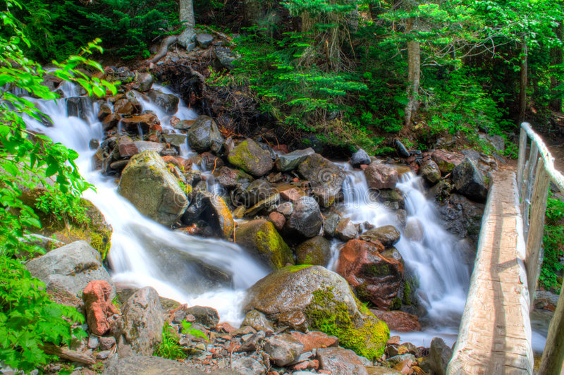 Bridge and Waterfall royalty free stock image