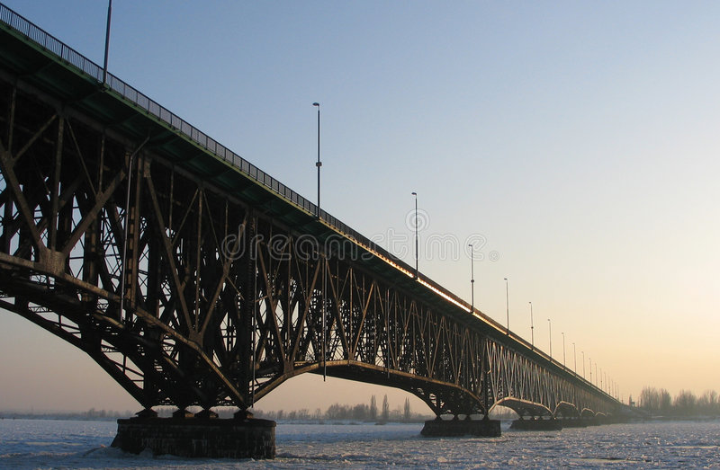 Download The Bridge in winter. stock image. Image of river, cold - 71127