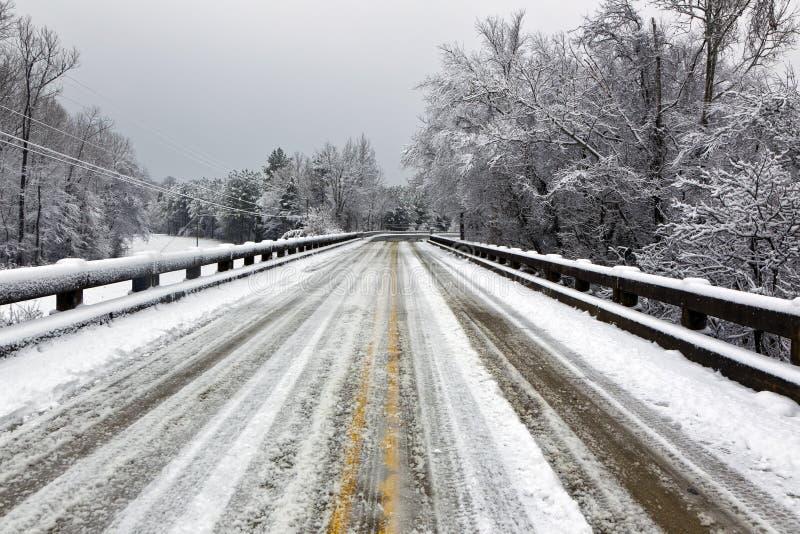 Bridge In Winter Snow Scene Stock Images