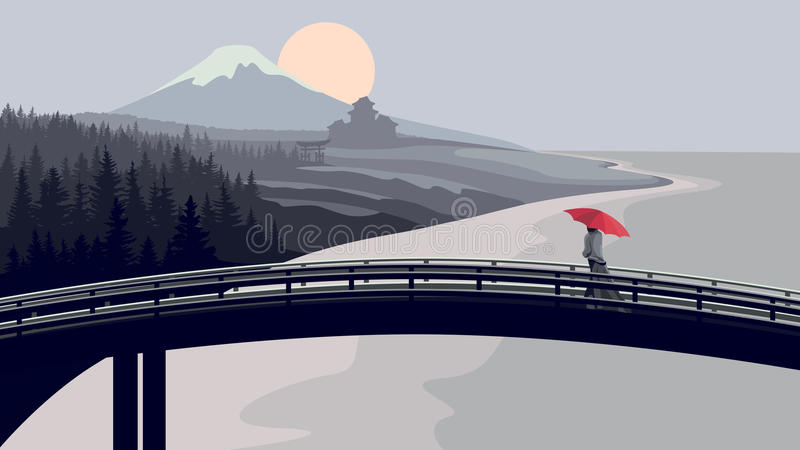Download Bridge, Woman With Red Umbrella, Mountains. Stock Vector - Image: 28572736
