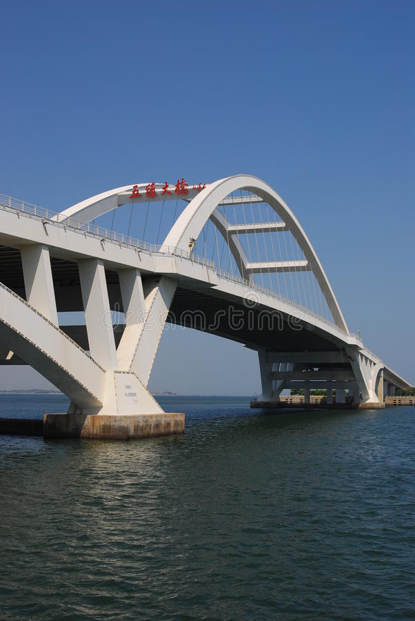 Bridge in Xiamen. White Megastructure Bridge in Xiamen stock photos