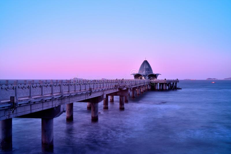 bridge in the sea royalty free stock photos