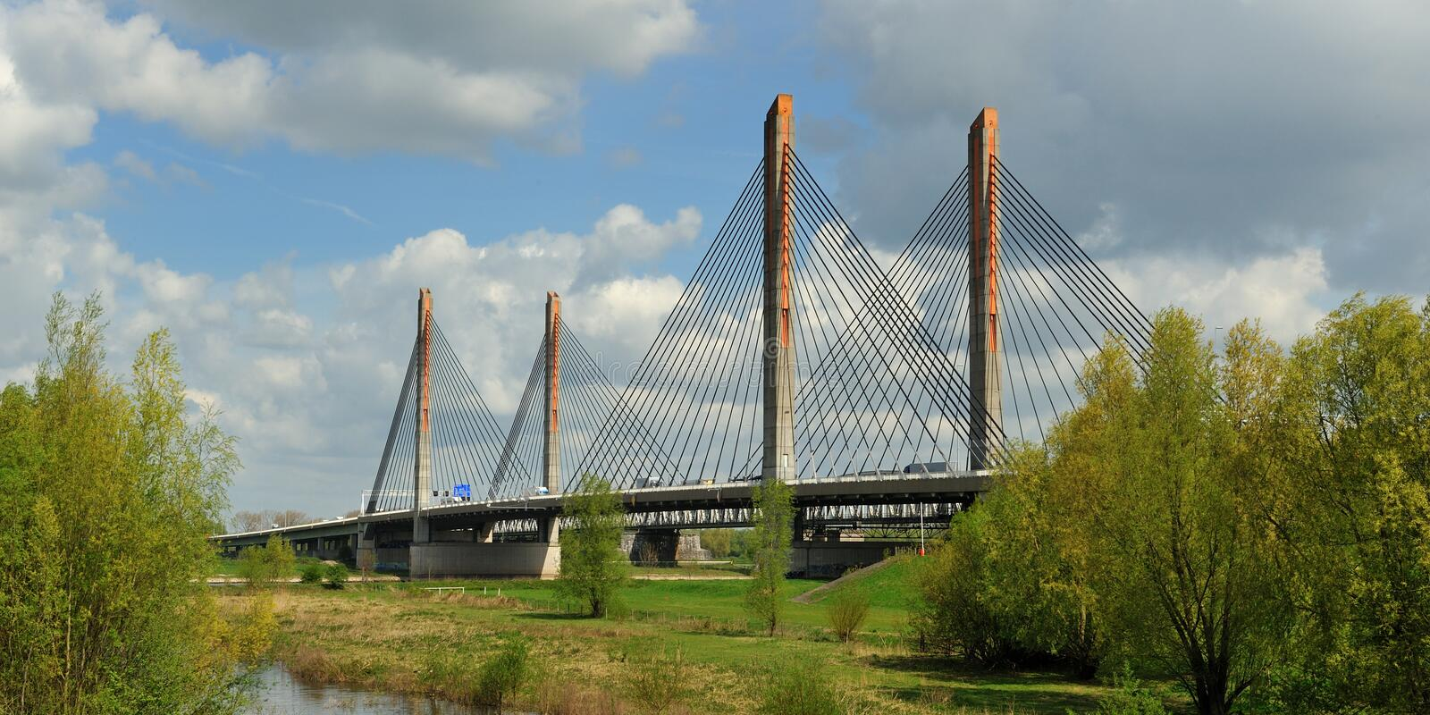 Bridge in Zaltbommel, Netherlands. A cable bridge with the name Martinus Nijhoff in Zaltbommel, the Netherlands royalty free stock images
