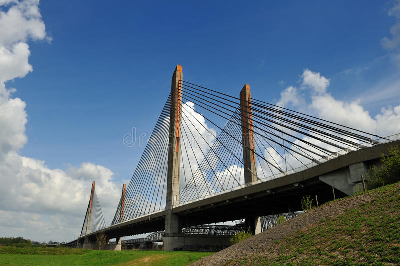 Bridge in Zaltbommel, Netherlands. A cable bridge with the name Martinus Nijhoff in Zaltbommel, the Netherlands royalty free stock photography