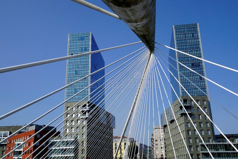 "The Bridge "" Zubizuri ""of Santiago Calatrava,. Bilbao, Spain royalty free stock photography"