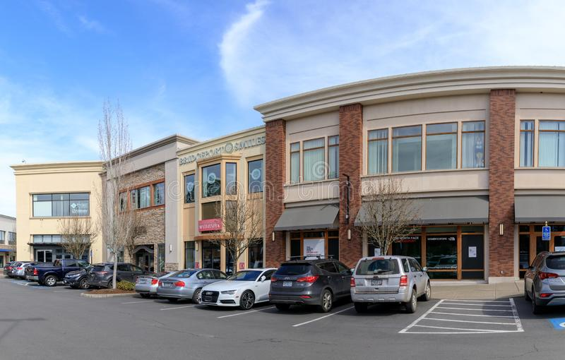 Bridgeport Village, Shopping Mall in Tigard city, Oregon. Tigard, Oregon - March 17, 2019 : Bridgeport Village, Shopping Mall in Tigard city stock photos