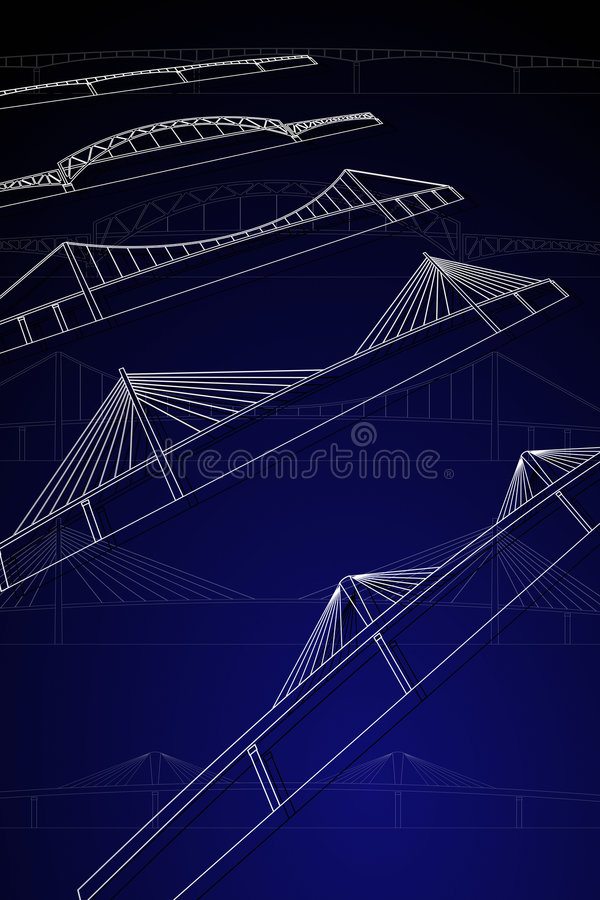 Download Bridges stock vector. Image of cable, illustration, blue - 9263399