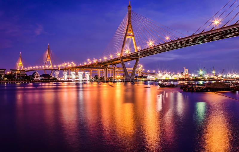 Bridges and beautiful evening light. In bangkok royalty free stock image