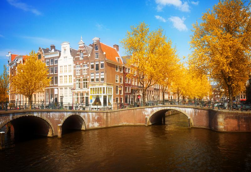 Bridges of canal ring, Amsterdam. At fall, Netherlands royalty free stock image