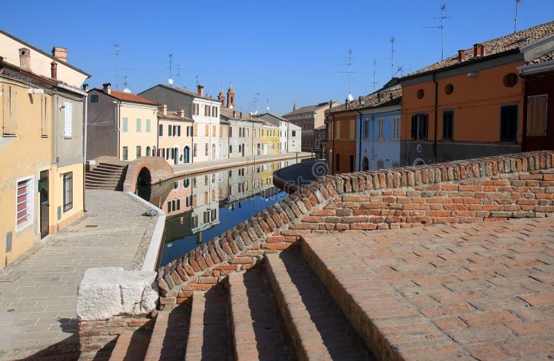Bridges in canal town Comacchio, Italy stock photos