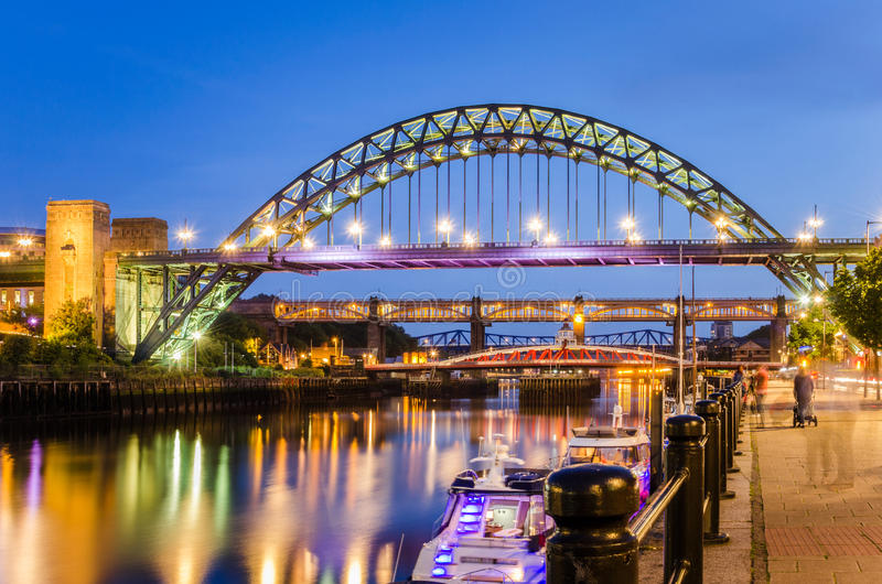 Bridges at Dusk. Bridges over the River Tyne in Newcastle, UK, at Dusk royalty free stock image