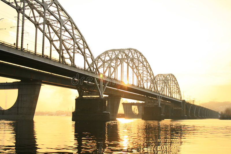 Bridges of kyiv. Railway bridges over the dnieper river in the southern part of kyiv royalty free stock photos