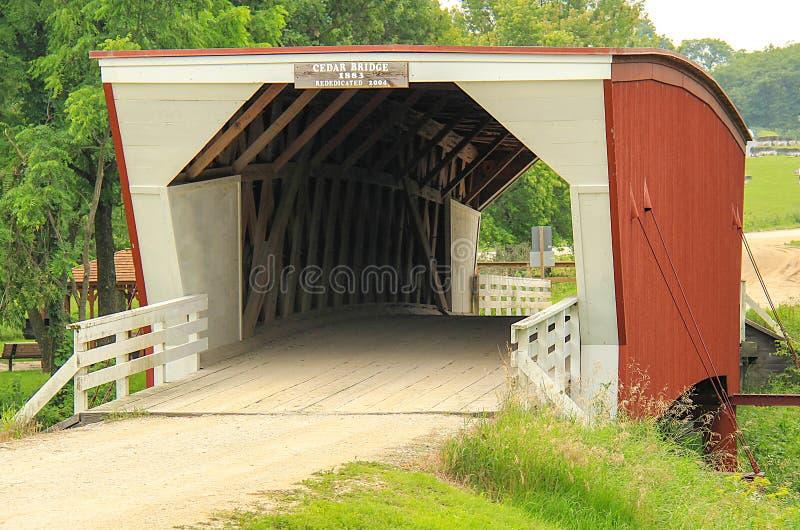 Bridges of Madison County most famous Cedar Bridge royalty free stock photography