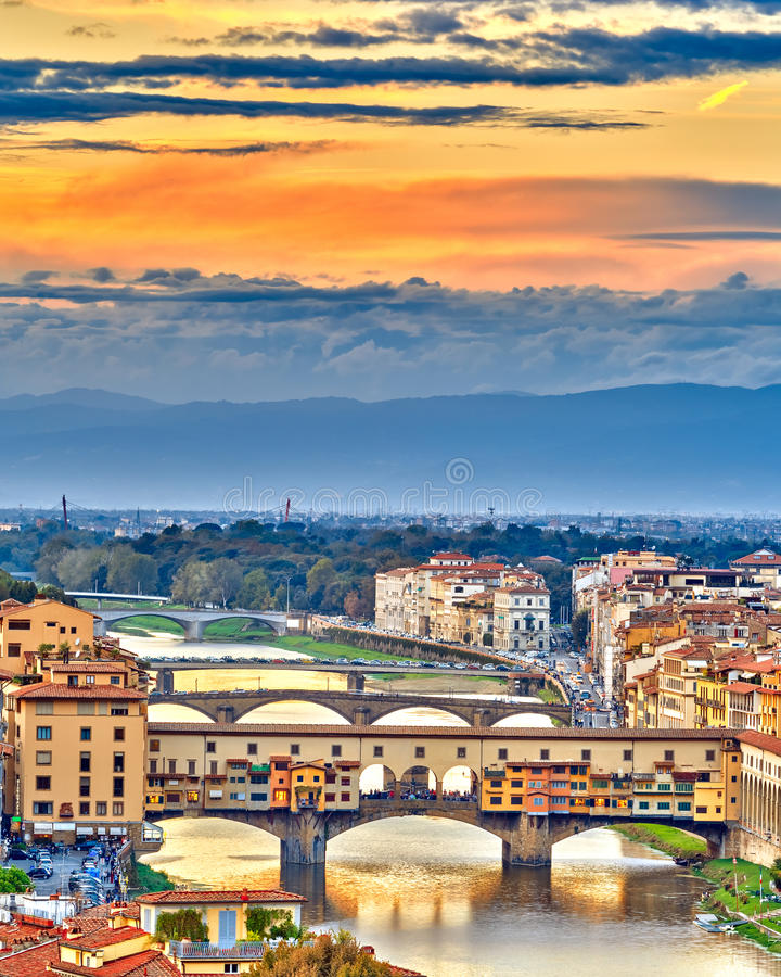 Bridges Over Arno River In Florence Stock Photo