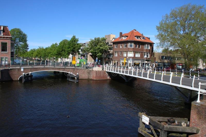 Bridges over canals in Leiden Netherlands. View across rijnsburgersingel waterway to bridge over canal with assorted buildings in Leiden, Netherlands. Coot on royalty free stock images