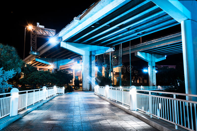 Bridges over the Hillsborough River seen from the Riverwalk at n royalty free stock image