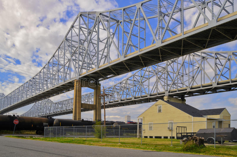 2 bridges over the Mississippi in New Orleans stock image