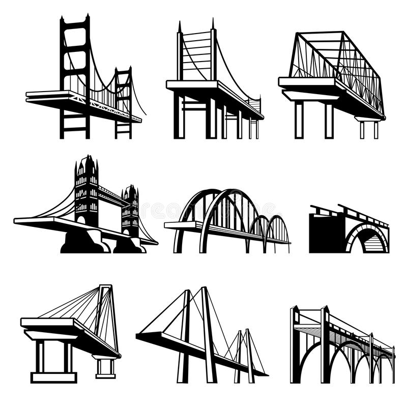 bridges in perspective vector icons set stock vector