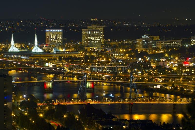 Bridges of Portland at Night royalty free stock photos