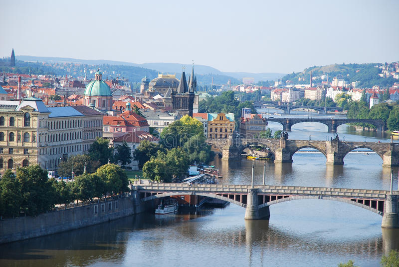 The bridges of Prague stock image