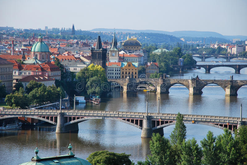 bridges prague royaltyfri foto