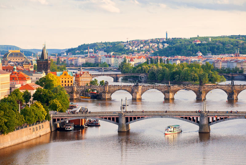 Bridges of Prague. Beautiful view to bridges and Vltava, Prague, Czech Republic royalty free stock images