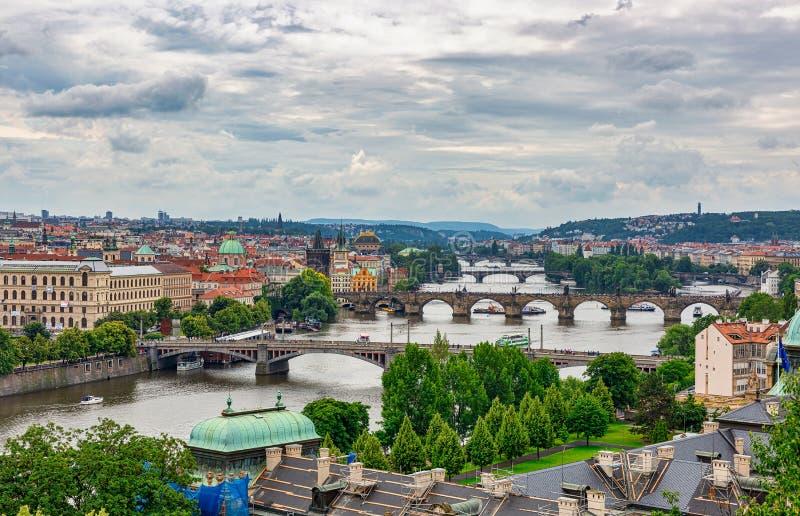 Historic Bridges of Prague, Czech Republic. Elevated view of the historic bridges that span the Vltava River in Prague, Czech Republic stock image