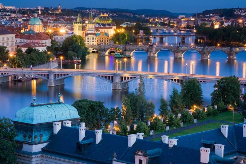 Bridges in Prague over the river stock image