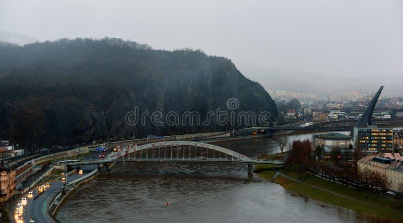 Bridges. Two road bridges in town Usti nad Labem royalty free stock image