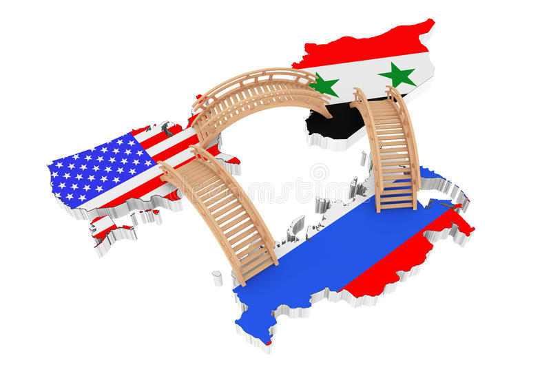 Bridges between USA, Russia and Syria Maps. 3d Rendering stock illustration