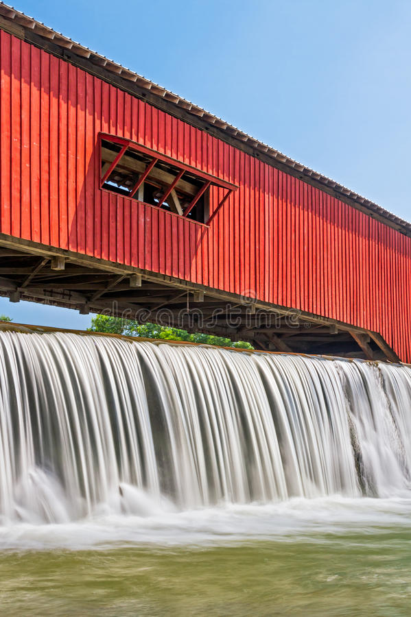 Bridgeton Covered Bridge and Waterfall royalty free stock photography