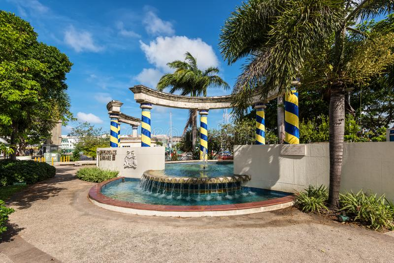 Independence Square in Bridgetown, Barbados. Bridgetown, Barbados - December 18, 2016: The fountain in Independence Square, Bridgetown, Barbados Island, West royalty free stock images