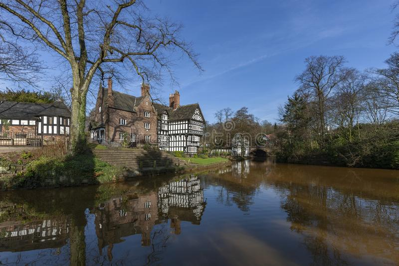 Bridgewater Canal - Manchester - United Kingdom. Tudor Building by the Bridgewater Canal in Worsley in Manchester in the United Kingdom royalty free stock photo