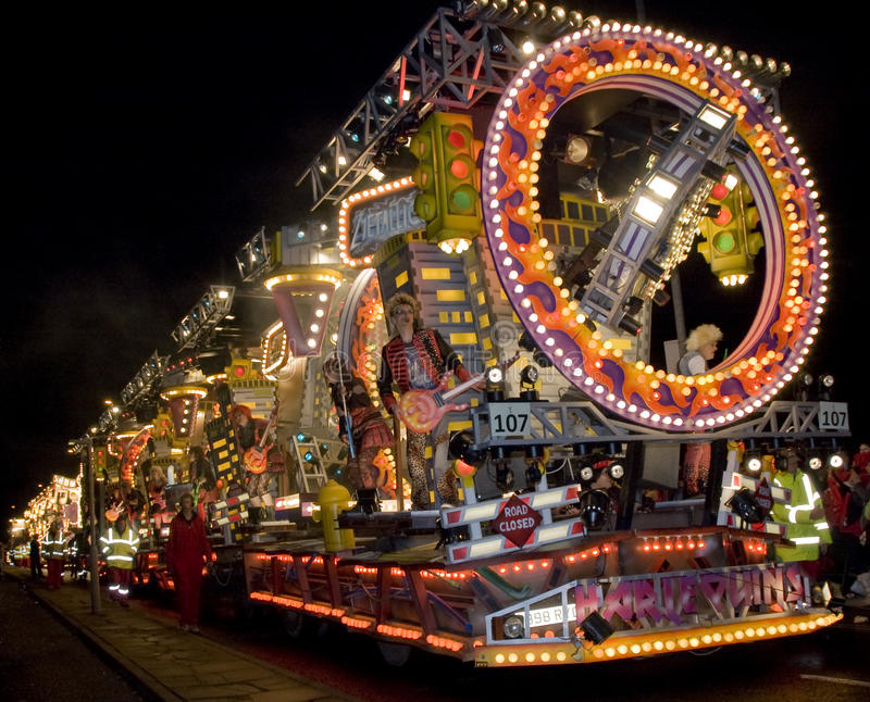 Bridgewater Carnival Float. The worlds largest outdoor Guy Fawkes street carnival local teams compete for honour all money raised goes to charity stock image