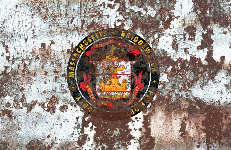 Bridgewater city smoke flag, Massachusetts State, United States. Of America stock photography