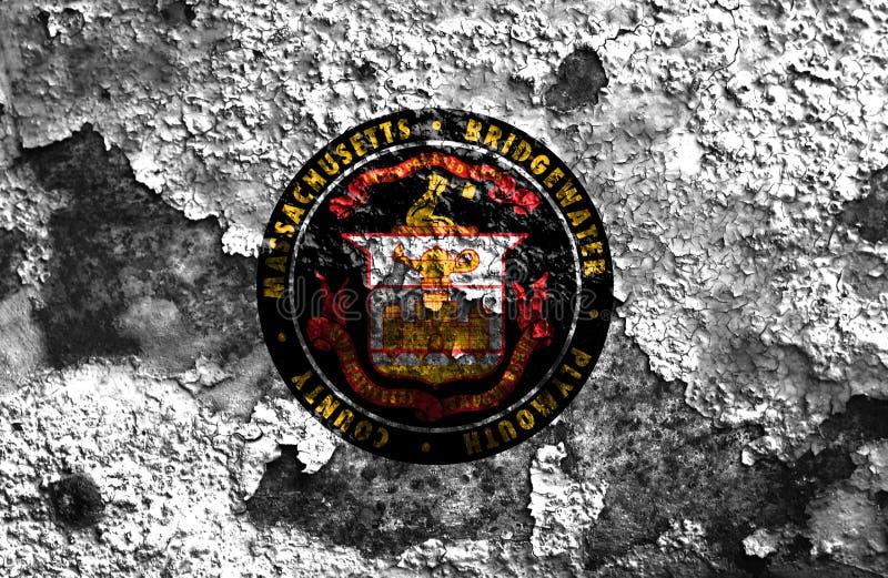 Bridgewater city smoke flag, Massachusetts State, United States. Of America royalty free stock photo