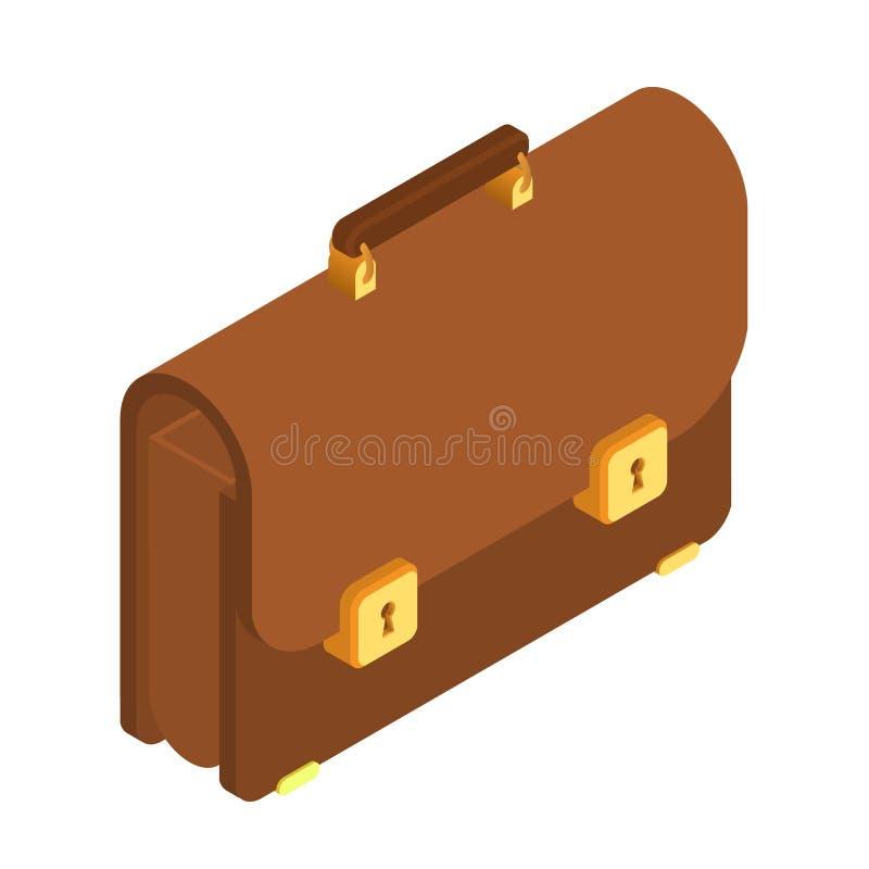 bridgework isometrisk symbol för portfölj 3d Brun portfölj med det guld- låset Portföljmanbrunt Affärsportföljillustration, stock illustrationer