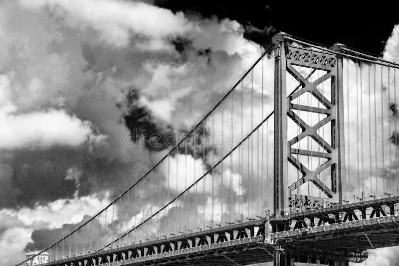 Bridging the Delaware River--The Benjamin Franklin Bridge stock photo
